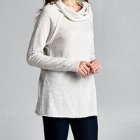 Solid Cowl Neck French Terry Tunic Top