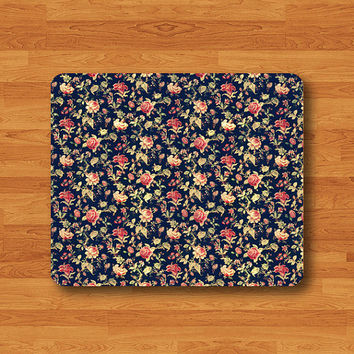 Blue Flower Vintage Lace Floral Rose Mouse Pad Desk Pad Fabric Seamless MousePad Personalized Rectangle Pad Matte Office Gift Computer Pad