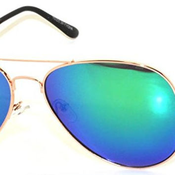Classic Aviator Sunglasses Metal Frame Gold Full Mirror Blue-Green Lens