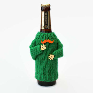 St.Patrick's beer cozy. Irish gift. Beer holder. Green beer sleeve. Irish beer. Bottle cozy. Orange mustaches Beer accessories Coworker gift
