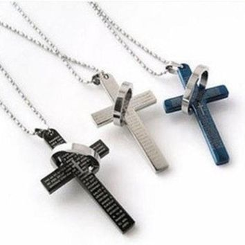 ESBONG The bible cross ring ring necklace, titanium steel men's stainless steel necklace, cross necklace man lovers necklace£¨With Thanksgiving&Christmas Gift Box???[8824510471]