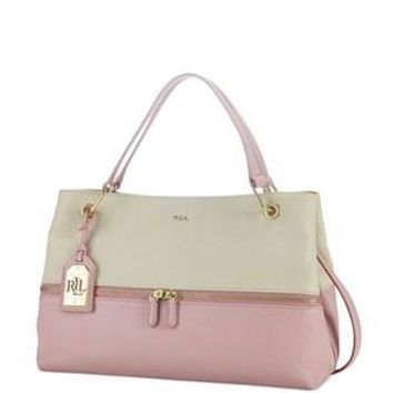 Lauren Ralph Lauren Meysey Colorblock Leather Satchel