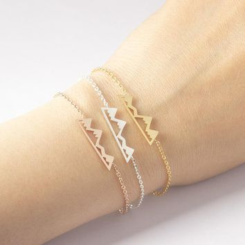 Bracelets For Women Fashion Jewelry Rose Gold Mountain Bracelet Charm Stainless Steel Chain Accessories Best Friend Gifts Bff