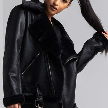 AKIRA Asymmetric Faux Leather Faux Fur Lined Bomber Jacket in Black