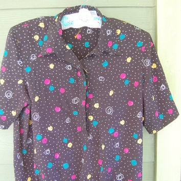 Vintage 80s Modern Graphic Print Short Sleeve Top Blouse Shirt Size 16