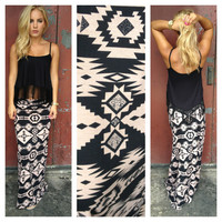 Black & Mocha Tribal Print Maxi Skirt