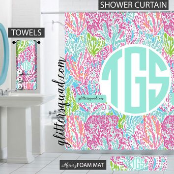 Lets Cha Cha Bathroom Decor Gift Set Personalized Shower Curtain/Towels/Memory Foam Mat