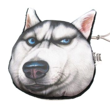 Siberian Husky Dog Face Animal Meme Coin Purse Make Up Bag