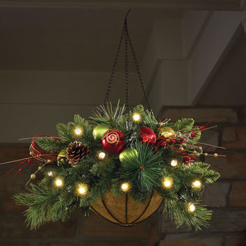 The Cordless Prelit Ornament Hanging Basket.  - Hammacher Schlemmer