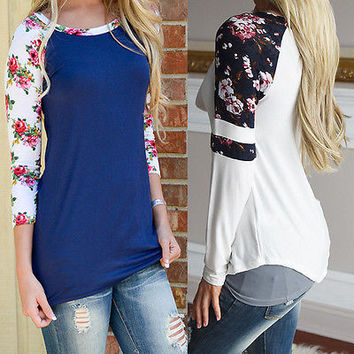 Women Loose Floral Long Sleeve Cotton Casual Blouse Shirt Tops Fashion Blouse