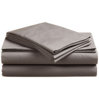 Twin size 300 Thread Count Ultra-Soft Cotton Sheet Set in Platinum Dove Gray
