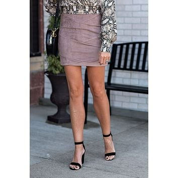 Collecting Thoughts Suede Skirt : Taupe