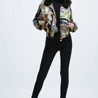 Urban Renewal Vintage One-of-a-Kind Moschino Printed Fur Collar Bomber Jacket - Urban Outfitters