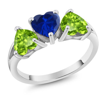 2.46 Ct Heart Shape Blue Simulated Sapphire Green Peridot 925 Silver Ring