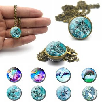 Sea Turtle Starfish Dolphin Seashells Round Photo Ball Necklace Double Face Glass Ball Cabochon Jewelry Pendant Charm Gifts