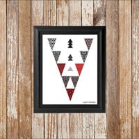 Tribal print, geometric art triangle pattern, Southwest decor, geometric aztec, red and black decor, red and white, boho dorm decor poster