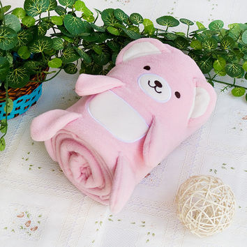 [Happy Bear - Pink] Embroidered Applique Coral Fleece Baby Throw Blanket