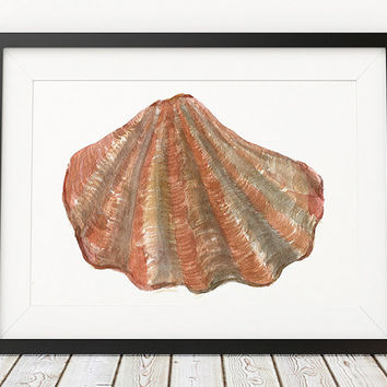 Seashell poster Beach house print Nautical print Watercolor decor ACW952