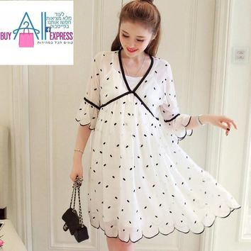 Maternity dress summer new fashion short-sleeved chiffon loose large size pregnant dress summer long paragraph two-piece