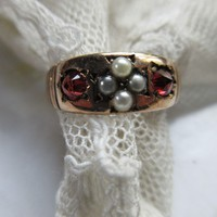 Antique Garnet Seed Pearl 10CT Ring Wedding Band