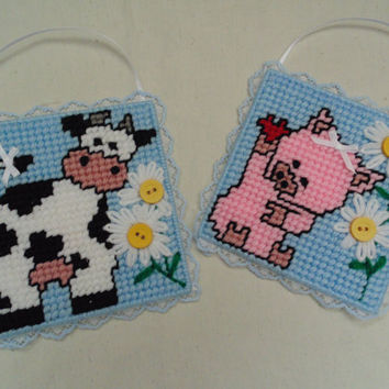 Baby Room Decor Cow and Pig in Needlepoint Set of TWO