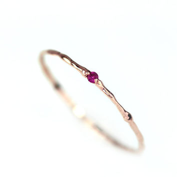 Solid 14k gold with Ruby Branch ring by BlissjJewellery on Etsy