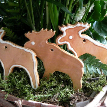 Reindeer Ceramic Christmas Ornaments Woodland Insired Caramel White Dots Set of 3