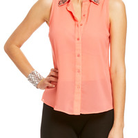 Rhinestone Collared Button Down