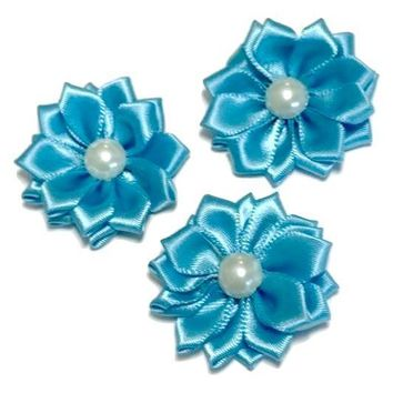"Turquoise blue 1.5"" satin petal flower with pearl center"