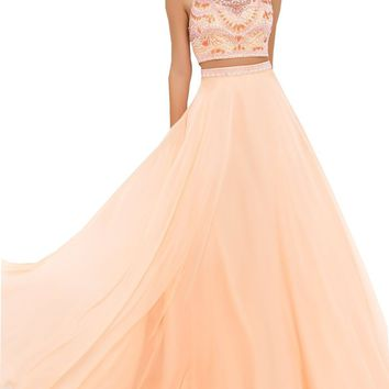 Mic Dresses Chiffon Two Piece Beaded Crop Top & Long Skirt Prom Dress (US 2, Green)
