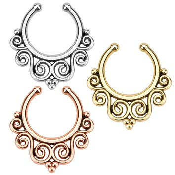 Fake Non-Piercing Tribal Swirl Septum Nose Clip On Hanger Rings Stud Body Jewelry Color:All colors (3 lot)