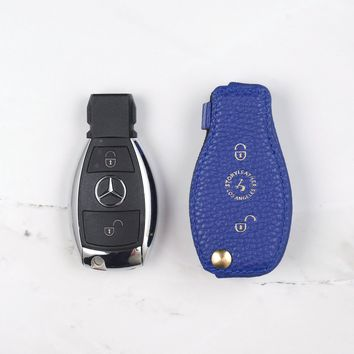 Midnight Blue Coaster Leather Key Cover - MERCEDES BENZ 2-Button Car Key
