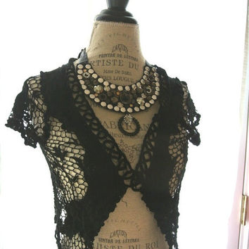 Romantic black crochet shrug, country chic wrap, womens clothing, lace jacket, wrap, cottage chic, rustic, applique