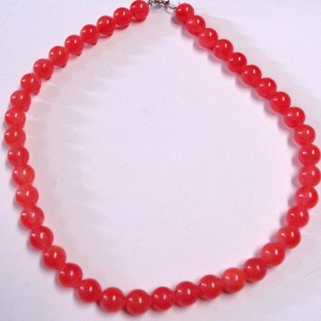 Pink Salmon Glass Bead Necklace