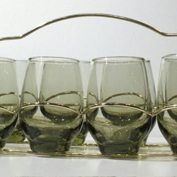 Set of 8 Libbey Green Tempo Glasses