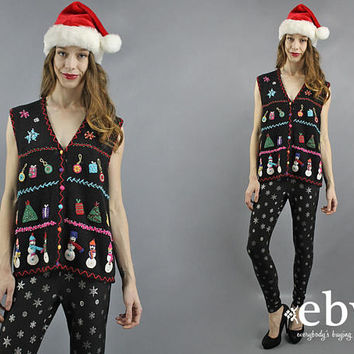 Christmas Vest Snowman Sweater Tacky Christmas Sweater Ugly Xmas Christmas Party Vest Christmas Jumper Xmas Vest Party Sweater L