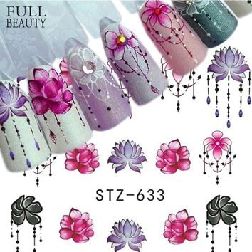 Fulll Beauty 1pcs Gradient Light Purple Rose Flower Slider Nail Decals for Watermark Manicure Polish Nail Sticker CHSTZ633-650