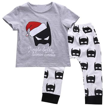 Newborn Baby Clothes Set Christmas Batman T-Shirt Top Pants Leggings 2PCS Hot Summer New Outfit Children Clothing Set
