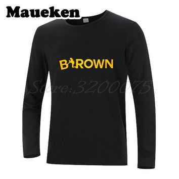 "Men Autumn Winter #84 Antonio Brown Steelers ""AB 84"" T-Shirt Long Sleeve Tees T SHIRT Pittsburgh Men's W1030010"