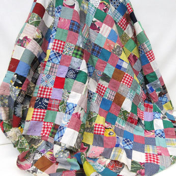 Vintage Patchwork Quilt Top, Hand Stitched Quilt Top, Rag Quilt, Quilt Fabric – As Is