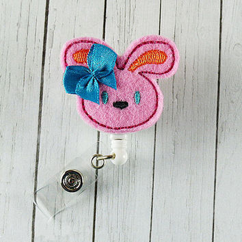 Bunny Felt Badge Holder with Retractable Badge Reel. A Designer Lanyard for Office Worker / Teacher/ Coworker / Nurse