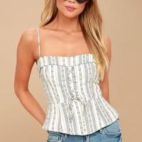 Here I Come Black and White Striped Lace-Up Peplum Top