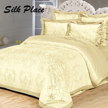 SILK PLACE Family Bedding Kit Moscow Supply Duvet Cover Jacquard Bed Linen Plaid Bedspread Bedclothes Cotton Satin Bedding Set