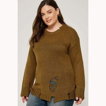 Stress To The Max Curvy Distressed Pullover Knit Sweater