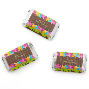 Luau - Personalized Birthday Party Mini Candy Bar Wrapper Favors - 20 ct