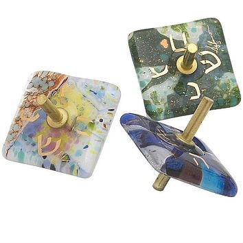 Small Fused Glass Dreidel By Gary Rosenthal In Blue,white,multi-Colored,green,gold Size: 1.75X1.75X1.75