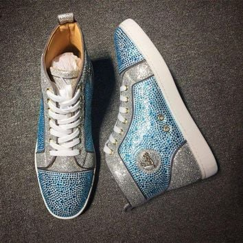 DCCK Cl Christian Louboutin Rhinestone Mid Strass Style #1918 Sneakers Fashion Shoes