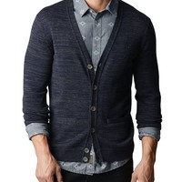 True Religion Space Dye Mens Cardigan - Navy/charcoal