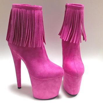 Leecabe The Newest 20CM Pole dancing shoes High Heel platform Boots open toe with fringes Pole Dancing boot Dance Boot