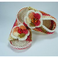 """Crochet Baby sandals, Summer sandals, Custom baby shoes, Fashion baby, Baby accessories with 2 layer flower - Up to 12 cm (4.7"""")"""
